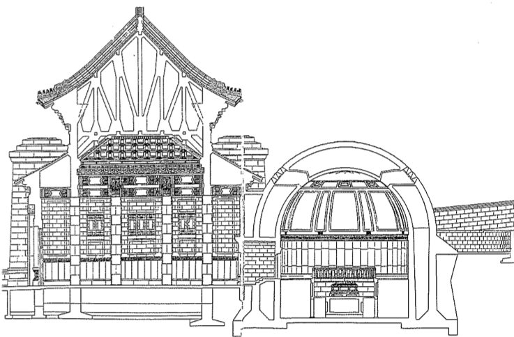 Fig.1. Lü Yanzhi, Design for Ceremonial Hall and Mortuary Chamber of Sun Yat-sen Mausoleum, Nanjing, 1925. From Feng'an shilu, Nanjing, 1928.