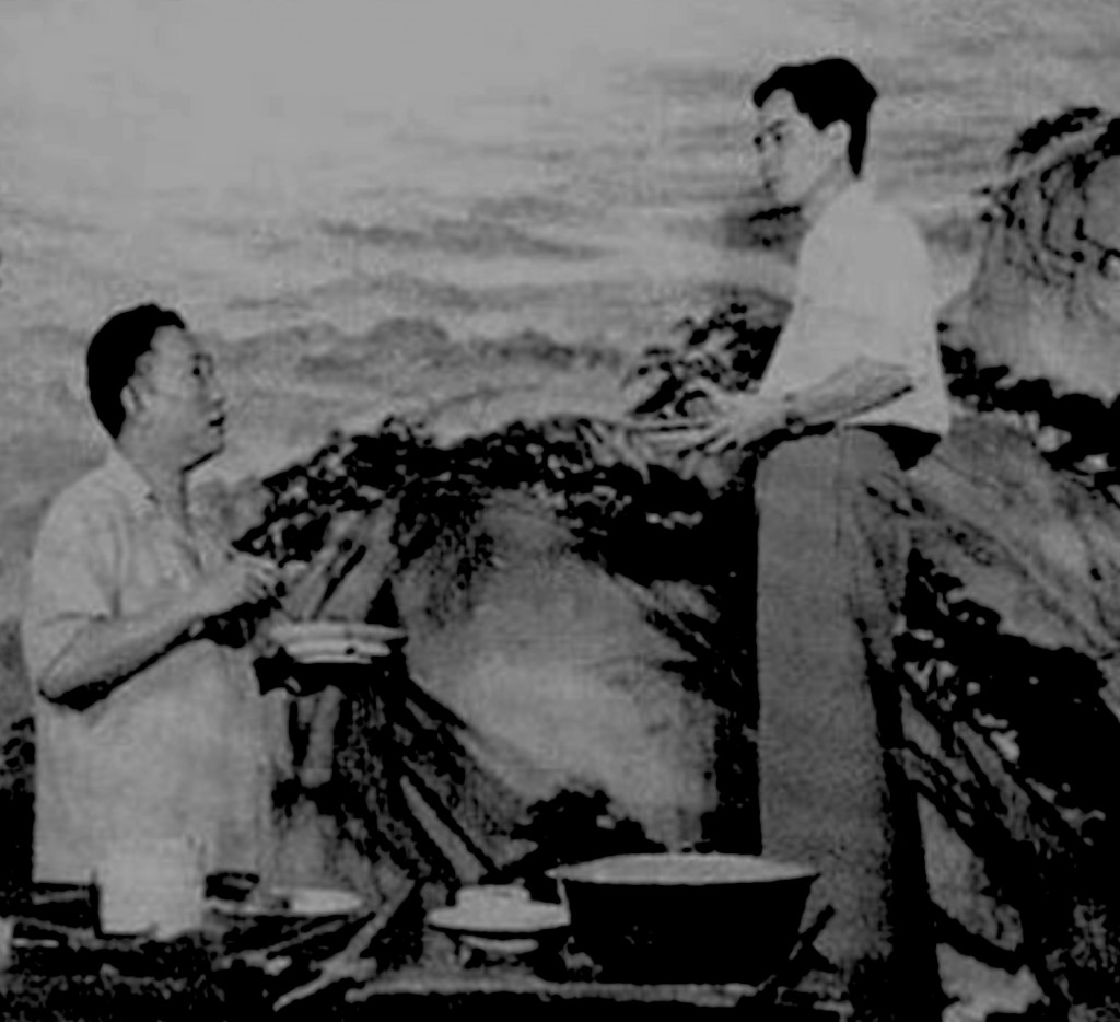Fu Baoshi and Guan Shanyue working on the painting at the Great Hall of the People, Beijing, 1959