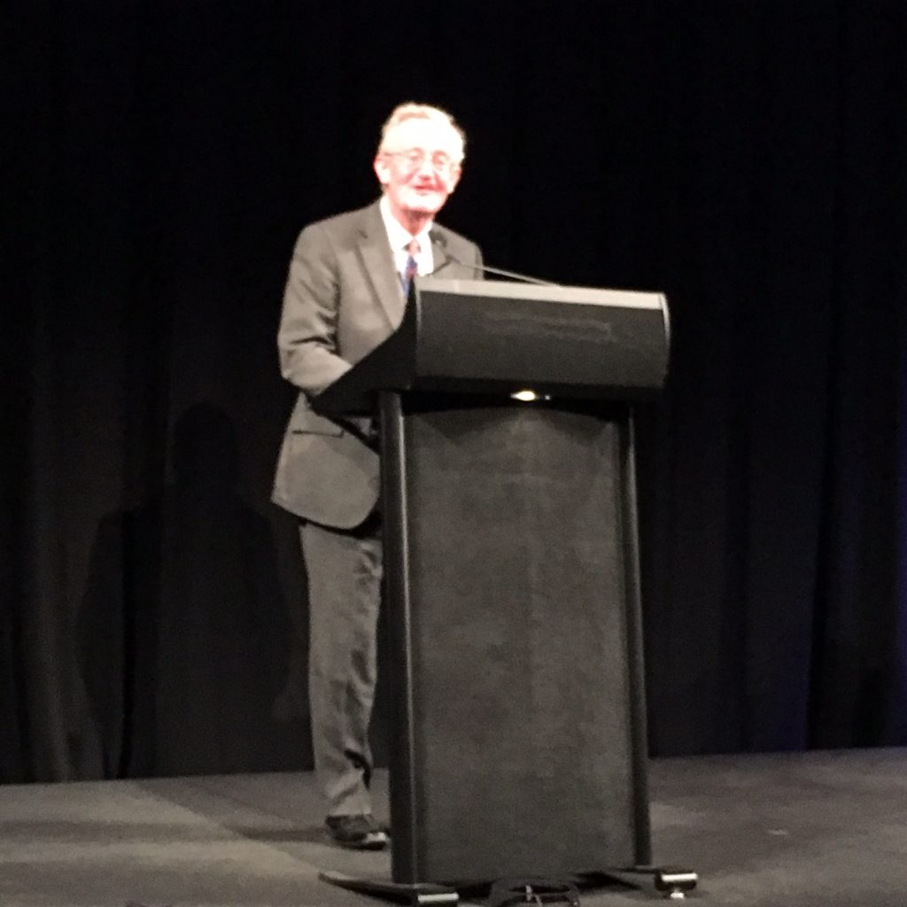 John Minford delivering his speech. Photograph: Claire Roberts