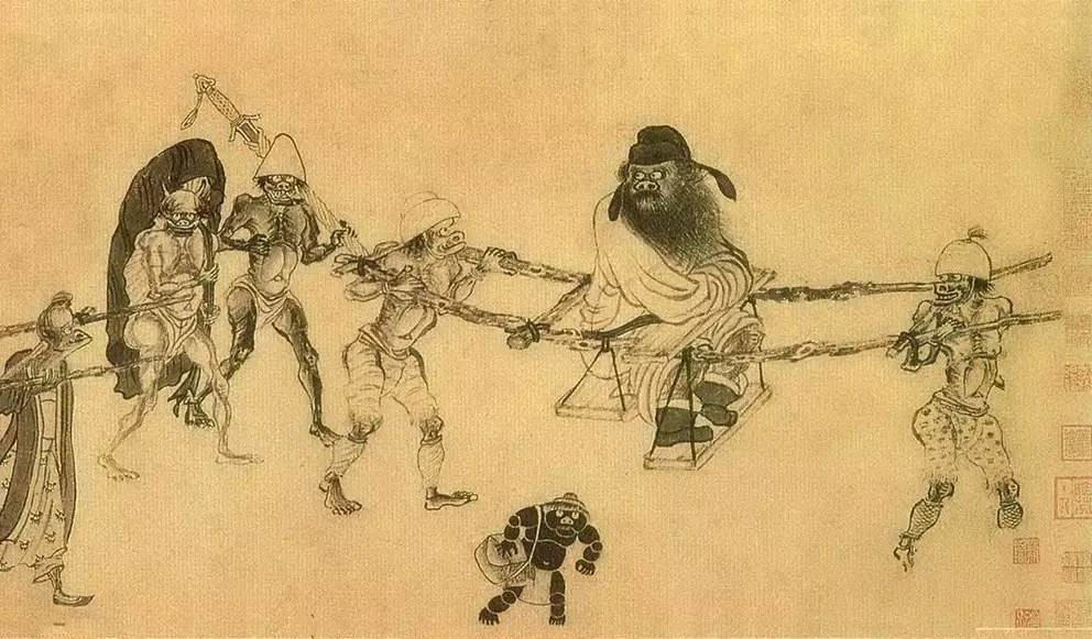 Zhong Kui and Entourage, by Gong Kai 龔開, a late-Song early Yuan artist. The Tang emperor Taizong was said to have been beset by illness and, during his dreams one night, he saw a fierce figure, Zhong Kui 鍾馗, who dispelled the evil spirits who had beset the emperor. On the morning all trace of affliction had disappeared. Ever since people have put up images of The Devil Dispelling Zhong Kui 鍾馗驅魔 in the days leading up to New Year's Eve to vanquish the malign influences of the past year.